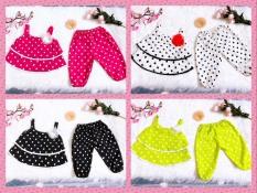 Set 2 đồ bộ cho bé gái chấm bi vải lụa hoa nổi cực xinh, vải mềm mại từ 3-14kg (5 màu)