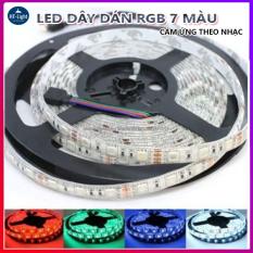 Cuộn dây Led dán đổi 7 màu RGB 5M Chống nước- Phủ Silicon- Nháy theo nhạc