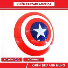 (GIẢM MẠNH) Đồ chơi khiêng cầm tay của đội trưởng mĩ cầm tay có đèn và nhạc, đường kính 34cm, được làm bằng nhựa có độ đàn hồi, cực bền, dành cho bé trai hoá trang thành các siêu nhân anh hùng avenger hàng cao cấp (KÈM PIN)
