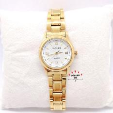 Đồng hồ nữ HALEI dây kim loại thời thượng ( HL489 dây vàng mặt trắng ) – TẶNG 1 vòng tỳ hưu phong thuỷ