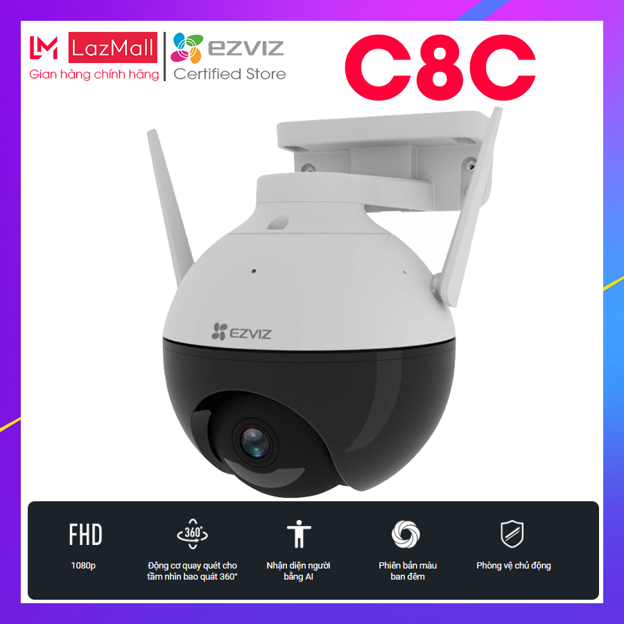 Camera Wifi EZVIZ C8C xoay thông minh Full HD 1080P (Chuẩn nén H.265, nhận diện người AI, màu ban đêm) – HÀNG CHÍNH HÃNG BẢO HÀNH 2 NĂM