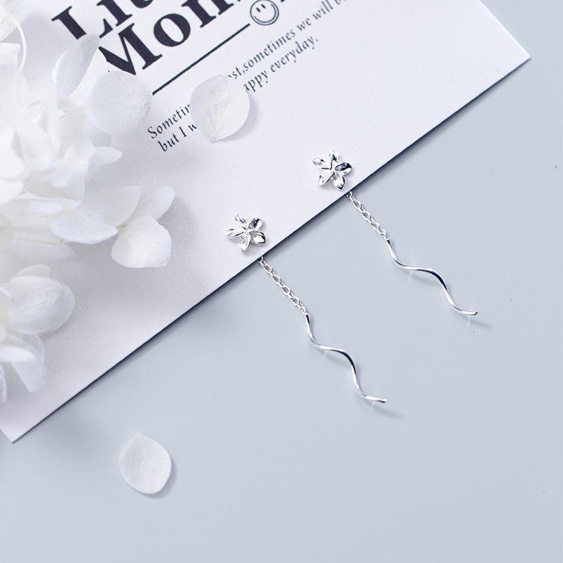 Bông tai bạc nữ S925 | Khuyên tai bạc nữ dài thời trang Bảo Ngọc Jewelry