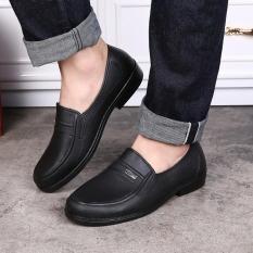 Giày lười nam đen Logo nhựa dẻo đi mưa lao động siêu êm chân cực thích