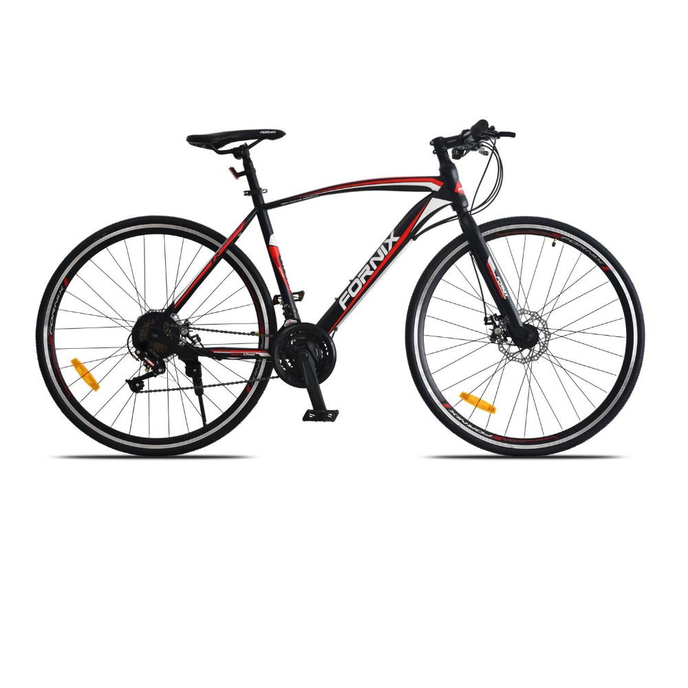 Xe đạp đường trường Fornix FR303, thiết kế kiểu dáng Khí Động Lực Học tiên tiến, Khung Sườn hợp kim thép Cao Cấp, Trọng Lượng 15KG, Tốc độ 21Speed, Vòng Bánh 29inX700C (Bạn cao từ 1m60) Màu Trắng – Đỏ – Đen