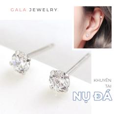 Bông tai bạc Gala nụ đá trắng KT06 – Khuyên tai nữ đơn giản chất liệu bạc 925 đính đá Zircon trắng cỡ vừa