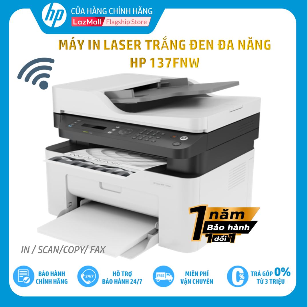 [Trả góp 0%]Máy in đa chức năng (In copy scan fax) đen trắng HP LaserJet MFP 137fnw-4ZB84A – Hàng chính hãng