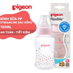 Bình sữa cổ hẹp PP Streamline 150ml Pigeon – Màu hồng (S)
