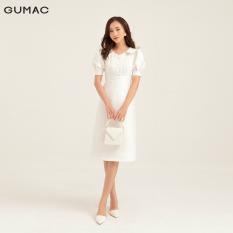 Đầm váy GUMAC thiết kế lá cổ phối nút DB162