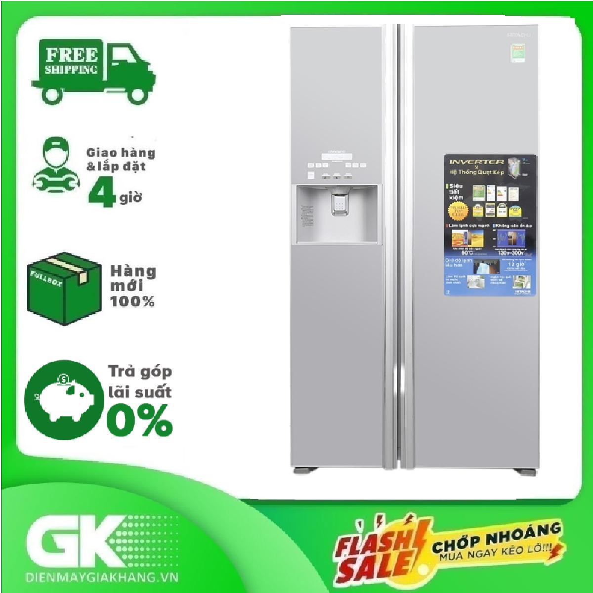 TRẢ GÓP 0% – Tủ lạnh Hitachi R-FS800GPGV2 (GS) 605 lít- Bảo hành 12 tháng
