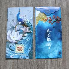 Combo 50 Bao lì xì cao cấp Chúc Năm Mới Tết Tân Sửu 2021, Bao lì xì kích thước 8×16 cm