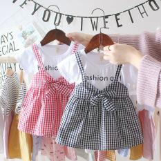 Set yếm cho bé gái, bộ đồ bé gái, váy đầm bé gái, Váy yếm caro cực dễ thương V41