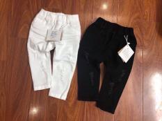 Quần kaki dài cho bé trai bé gái mặc được kèm với áo dài cách tân( màu trắng, đen)