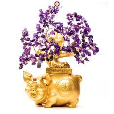 Cây Tài Lộc – Cây Đá phong thủy Thạch Anh Tím tự nhiên đế Heo vàng may mắn