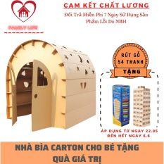 Nhà Bìa Carton Cho Bé Vui Chơi, Nhà Giấy Cho Bé, Nhà Carton, Nhà Các Tông Cho Bé An Toàn Chắc Chắn Chịu Lực Tốt