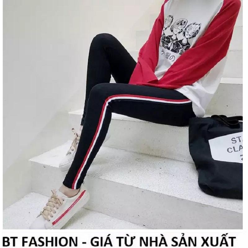 [HCM]Quần Dài Nữ Thun Ôm Legging Thể Thao Thời Trang Hàn Quốc - BT Fashion (QTT-Viền 3M-05)