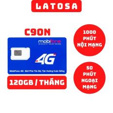 Sim 4G Mobifone C90N tặng 4GB/Ngày (120GB/Tháng) miễn phí 1000 phút nội mạng và 50 phút ngoại mạng