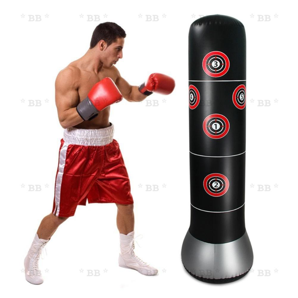 Bao trụ đấm đá Boxing 1.6m BƠM HƠI, bao tập võ tự cân bằng cao cấp - BlingBling