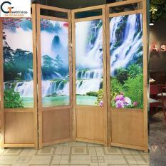 Bình phong bằng gỗ sồi tự nhiên cùng nền vải tranh 3D GT505