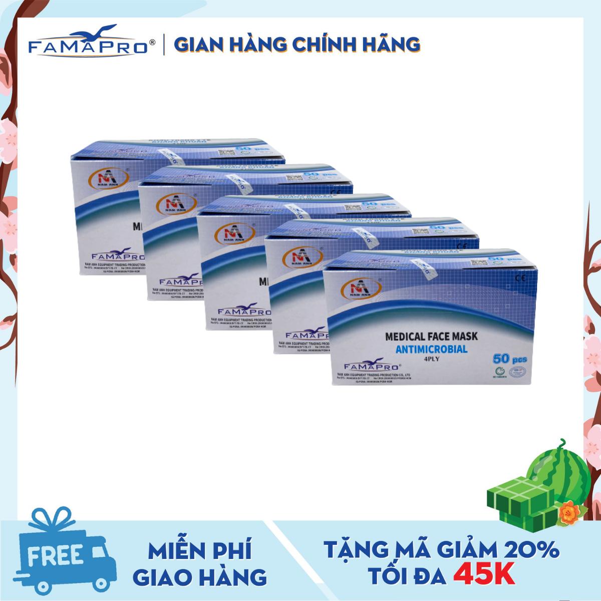 Combo 5 hộp khẩu trang y tế 4 lớp kháng khuẩn Famapro (50 cái / Hộp)