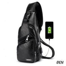 [Free_ship_99k] Túi đeo chéo nam da cao cấp CLASSIC có cổng sạc USB và lỗ tai nghe thời trang giá rẻ