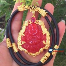 Dây chuyền/ Vòng cổ nam cao su nạm rồng vàng kèm mặt phật màu đỏ bọc vàng siêu HOT