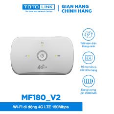 [Bảo Hành 24 Tháng] Wi-Fi di động 4G LTE 150Mbps TOTOLINK MF180-V2 Cục phát wifi lắp Sim và sử dụng tiện lợi Thiết bị wifi dùng cho du lịch di chuyển có thể sử dụng Pin hoặc cắm nguồn điện trực tiếp Hãng phân phối chính thức