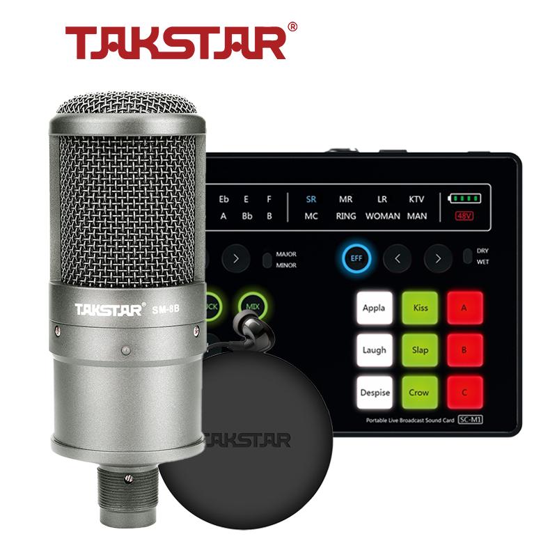 [Trả góp 0%]Combo Mic Thu âm chính hãng TAKSTAR Hát Karaoke Livestream Soudcard Takstar SC-M1 Micro SM-8B Tai nghe kiểm âm TS-2260 và đầy đủ phụ kiện. Bảo hành 12 tháng