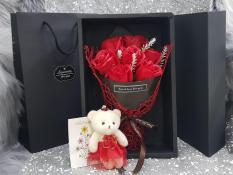 Hoa hồng sáp quà tặng Hộp 7 bông kèm gấu và thiệp chúc (NHIỀU MÀU)
