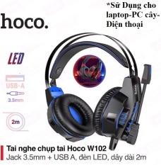 Tai nghe chụp tai headphone có dây nói voice chính hãng hoco điều chỉnh âm lượng chơi game trên máy tính và học online