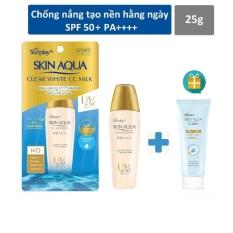 [mẫu mới 2024 tặng sunplay 15g] Sữa chống nắng Sunplay Skin Aqua Clear White CC Milk 25g