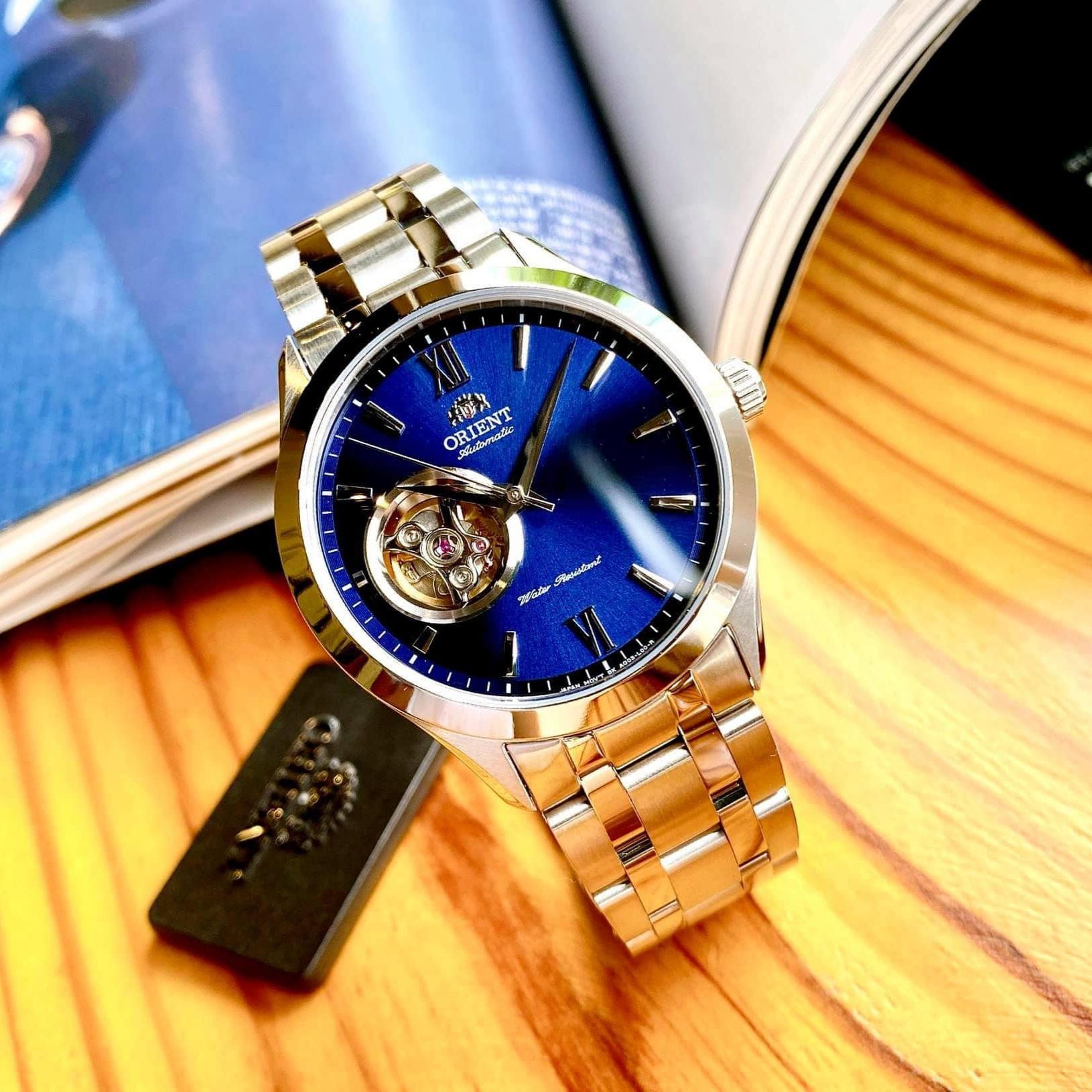 Đồng hồ Nam Orient Open Heart/Hở tim FAG03001D0 Automatic Mặt xanh,Kính Sapphire-Máy cơ tự động-Dây kim loại cao cấp-Size 39mm,vừa...