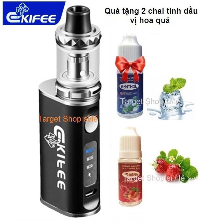 Ekifee mini MAX 100w khói khủng long (loại nhỏ, bỏ túi) (Đen) EK2 + Kèm 2 chai dầu mùi Dâu,...
