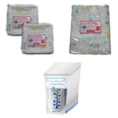 Bộ 1 túi khăn sữa 2 lớp Shopconcuame 10 cái 32 x 32cm + 1 khăn 2 lớp Shopconcuame 80 x 80cm + 60 túi đựng sữa mẹ Unimom 210ml
