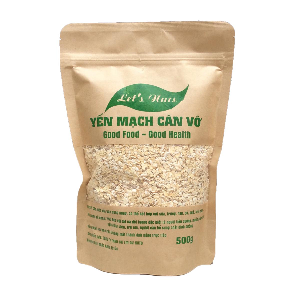 Hạt yến mạch cán vỡ Let's Nuts làm ngũ cốc giảm cân, bột yến mạch, người tập gym, bổ sung chất dinh dưỡng túi 500g Let Nuts