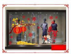 Decal tết, hình dán trang trí năm mới mai đào lồng đèn và cụ già chúc tết (mẫu 8)