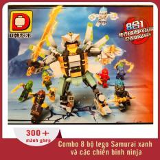 Đồ chơi xếp hình combo 8 bộ lego Samurai xanh và các chiến binh ninja (hơn 300 mảnh ghép), dành cho trẻ từ 6 tuổi trở lên, nhựa ABS an toàn với trẻ