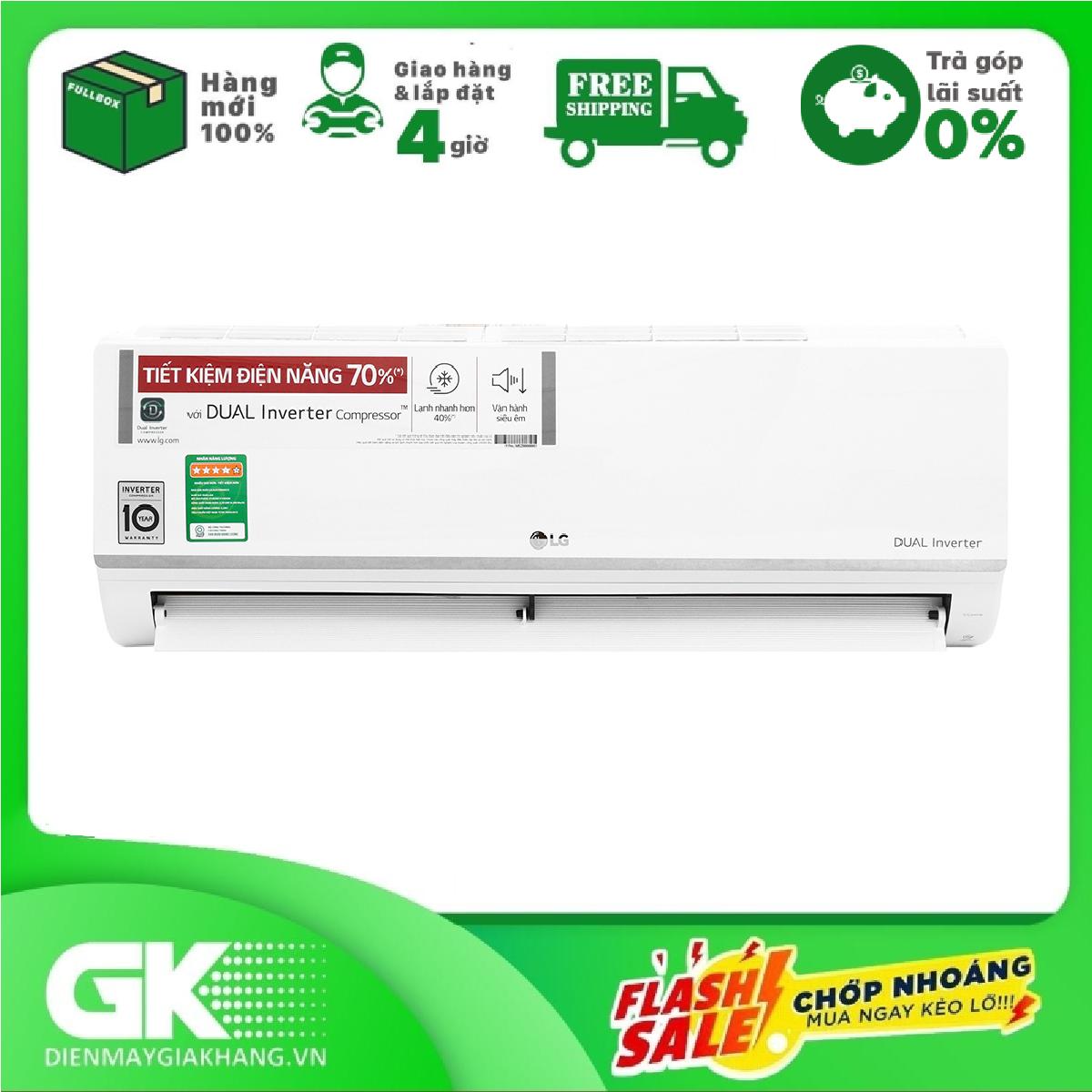 RẢ GÓP 0% – Máy lạnh LG Inverter 1 HP V10ENW, tiết kiệm điện lên đến 70%, vận hành êm ái – Bảo hành 2 năm