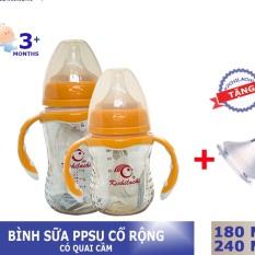 Bình sữa PPSU kichilachi cổ rộng 240ml tặng núm ti thay thế