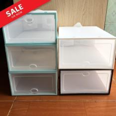 Combo 10 hộp đựng giày nhựa trong suốt viền trắng