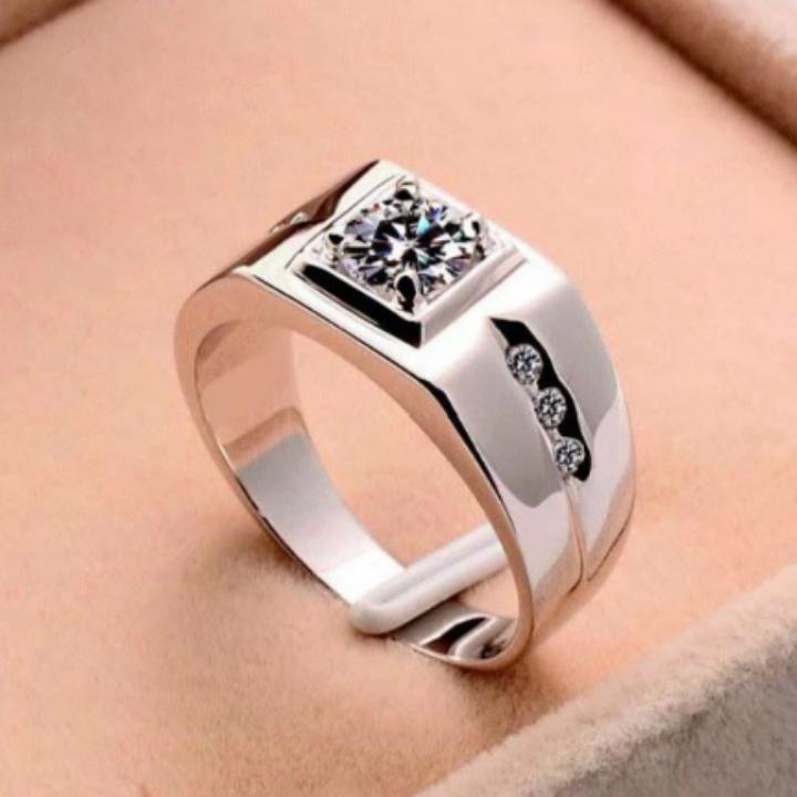Nhẫn bạc nam đính đá đẹp sang trọng, nhẫn nam inox mạ bạc đính đá