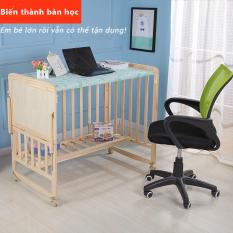 giường em bé gỗ mộc đa chức năng nhiều tầng nôi em bé không phun sơn có thể di động