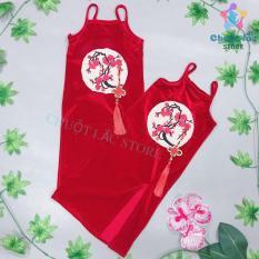 Đầm váy bé gái, đầm váy nhung body xẻ tà kiểu thượng hải thêu hoa cho bé mặc đi chơi (màu đỏ)
