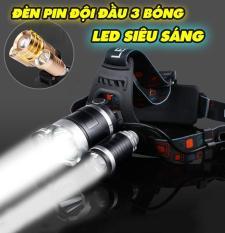 Đèn pin đội đầu 3 bóng siêu sáng kèm 2 pin sạc và 1 cốc sạc 2020