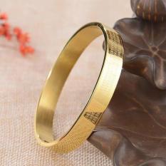 vòng tay nam titan khắc chú đại bi màu vàng (ovan) – có dạng hình tròn ni 50mm (size 15 cm) dành cho nữ (trị huyết áp)
