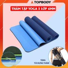 Thảm tập YOGA, GYM 2 lớp 6 mm cao cấp, thảm yoga chống trượt định tuyến + tặng kèm túi đựng thảm gấp gọn, du lịch tiện lợi TOPBODY – T2 – THAMT02