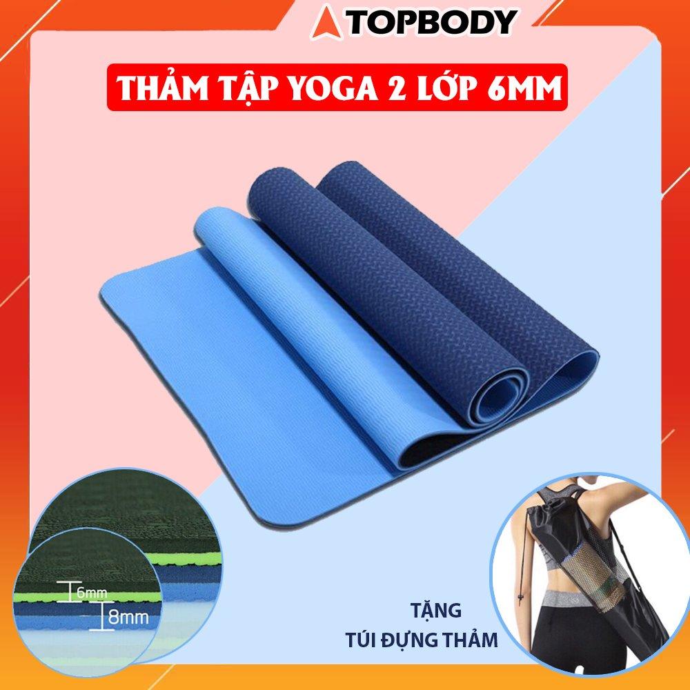 Thảm tập YOGA, GYM 2 lớp 6 mm cao cấp, thảm yoga chống trượt định tuyến + tặng kèm túi...