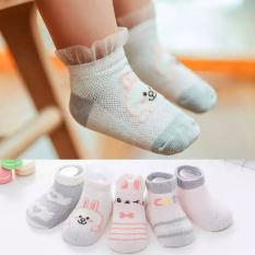 Set 5 đôi tất lưới cổ thấp cho bé 0-2 tuổi chất cotton chống trơn trượt hình thú lạ mắt phối màu sắc xinh xắn BBShine – T013