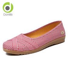 Giày búp bê công sở đế cao su dẻo đi bộ cực êm chân, giày búp bê vải caro dễ thương đế bằng cao 2cm, giày họa tiết Gingham đậm chất vintage DONI86 349D