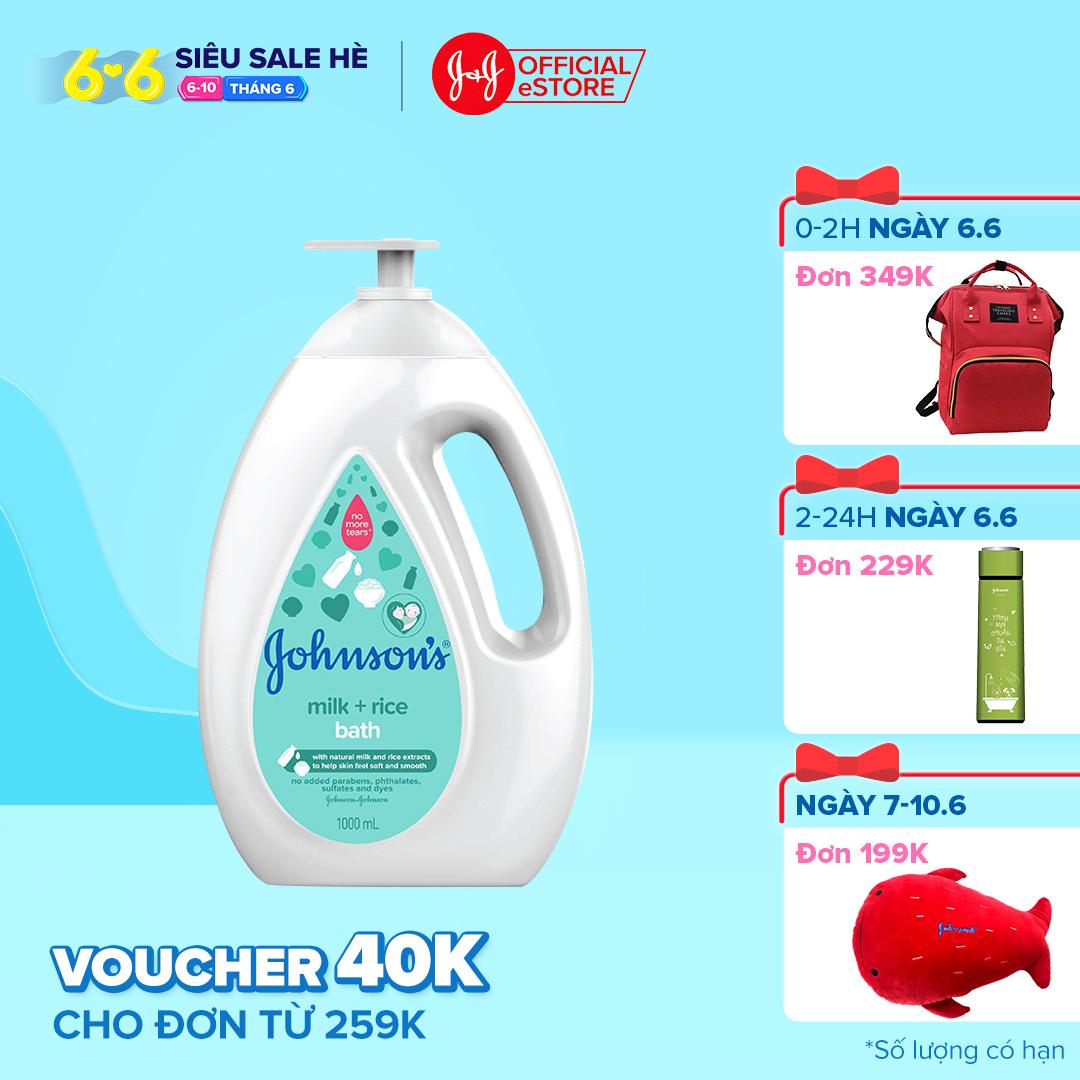 Sữa tắm chứa sữa và gạo Johnsons Milk & Rice bath 1000ml
