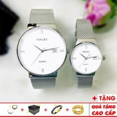 Đồng hồ cặp đôi Halei 6868 thời trang cao cấp chính hãng dây thép lụa đẳng cấp – Đồng Hồ Halei